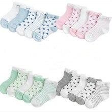 Для детей от 0 до 3 лет, 5 пар в партии,, носки для новорожденных, детей, летние сетчатые носки Ультра-тонкая дышащая курточка с изображением ясного звездного Детские носки для мальчиков и девочек
