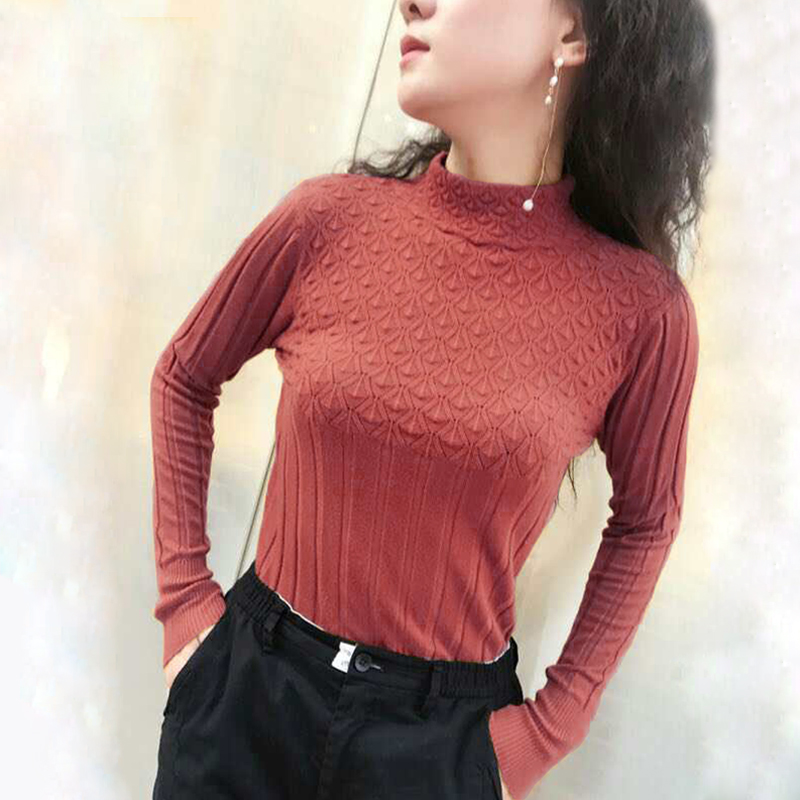 Sweaters And Pullovers For Women 2019 Spring Autumn Solid Turtleneck Knitwear Female Casual Elastic Loose Coat Femmle