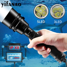 2020 Professional Scuba Diving Flashlight 5T6/5L2 Portable Dive torch 200M Underwater Waterproof Powerfull Flashlights Use 18650 xml t6 l2 powerful battery flashlight diving professional portable dive torch underwater illumination waterproof flashlights