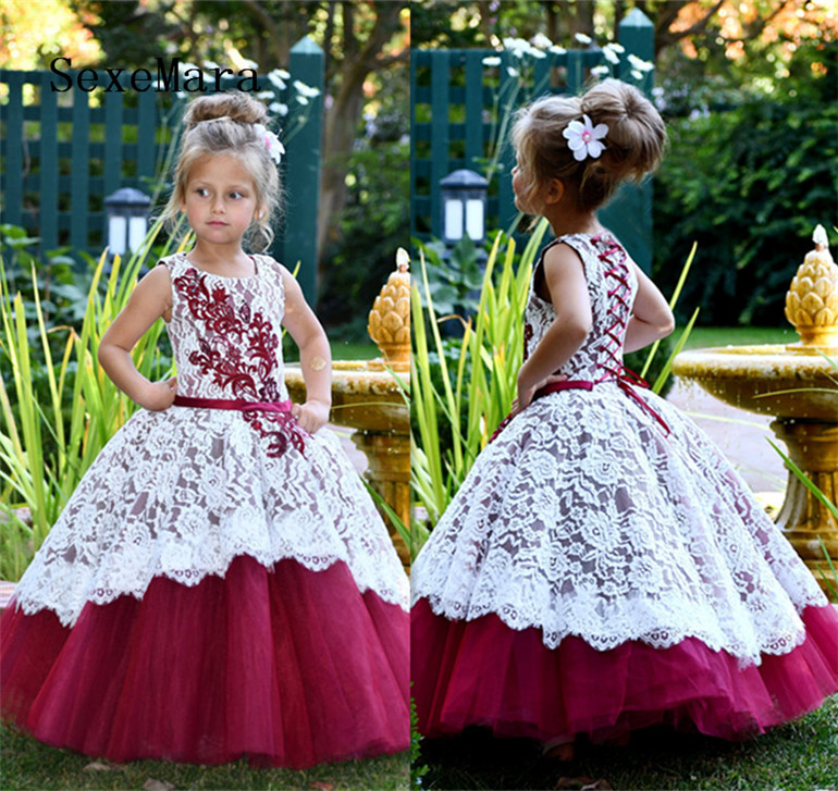 Burgundy White Lace Flower Girl Dress for Wedding Party Lace Up Back Ball Gown O Neck Communion Gown Princess Birthday Dress enhanced windsock wind vane double frame skeleton