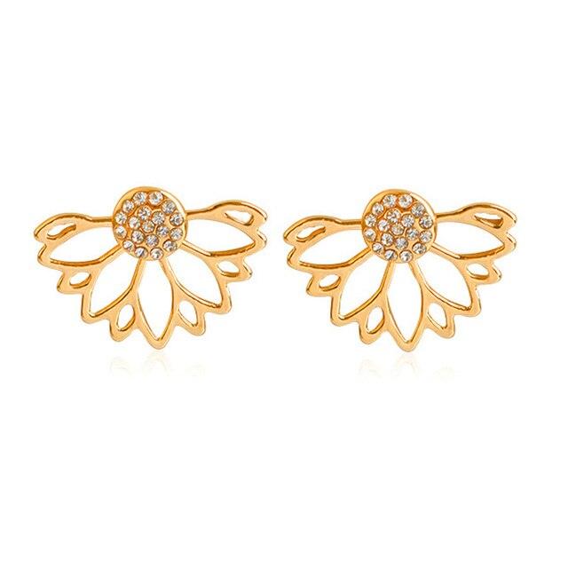 dd8dda46ced3 Marca Nueva Plata Color Crystal Flor Stud para Las Mujeres Brinco Bijouterie  bijoux Declaración Amor Pendiente
