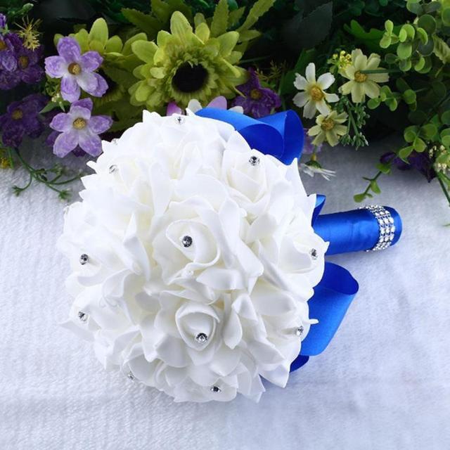 Crystal roses pearl bridesmaid wedding bouquet bridal artificial crystal roses pearl bridesmaid wedding bouquet bridal artificial silk flowers for wedding mariage hand flowers floral mightylinksfo