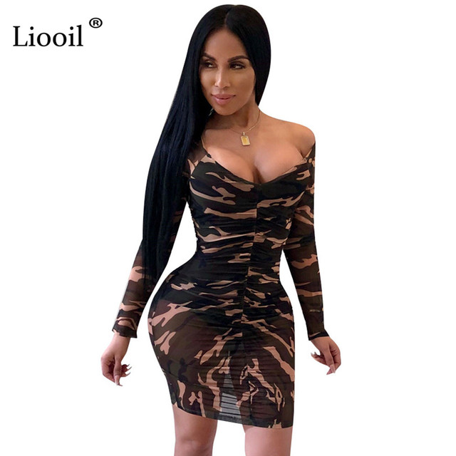 b2411d907db Liooil Sexy See Through Mesh Camouflage Print Mini Dress Women Off The  Shoulder Long Sleeve V