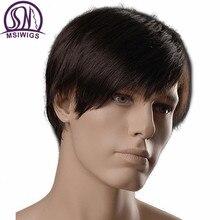 شعر مستعار رجالي اصطناعي قصير مستقيم 6 بوصة من msihair شعر مستعار للرجال بني داكن اللون طبيعي مع أشرطة جانبية مقاومة للحرارة من الألياف