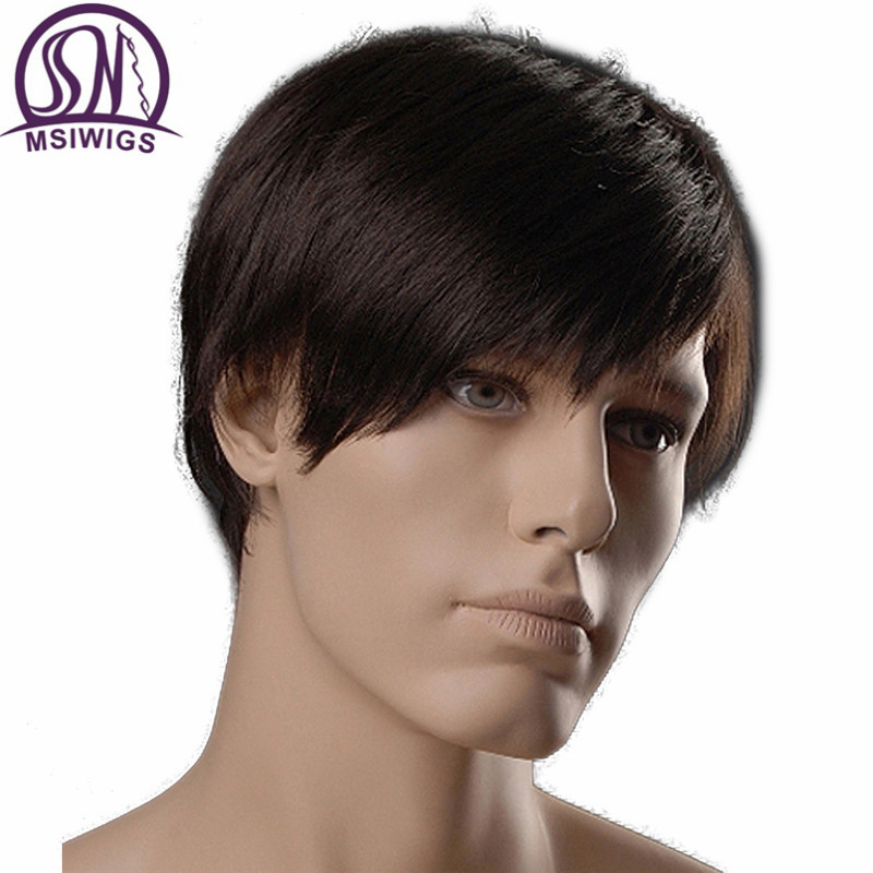 MSIWIGS 6 Inch Short Straight Synthetic Men Wigs Dark Brown Color Natural Male Wig with Side Bangs Heat Resistant Japanese Fiber
