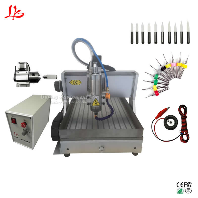 Mini CNC Router 3040Z 2.2kw With Water Tank Engraving Milling Cutting Machine Process Jade Stone Metal