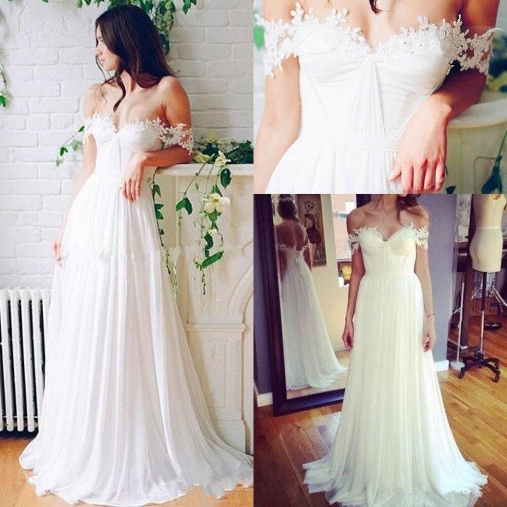2019 Beach Off Shoulder Wedding Dresses Bridal Gowns Sweetheart Appliques Lace Chiffon Vintage Seaside Backless Wedding Dress