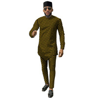 Fshion African Print Men's Set Dashiki Fashion Tops With Pants 2 Pieces Set Shirt+Trouser Sets Casual Customized Men's Outfit
