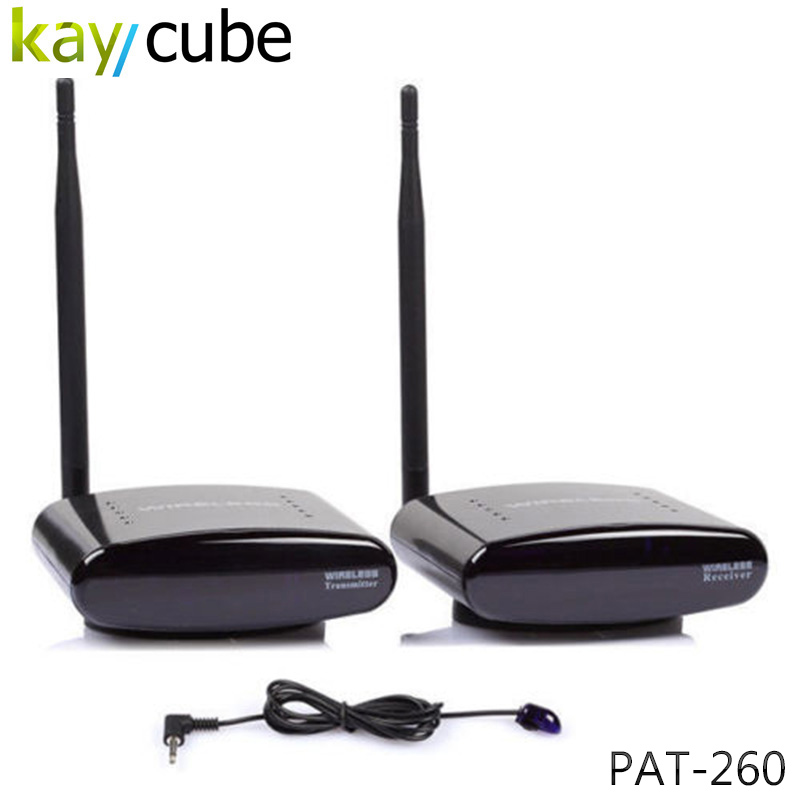 PAT-260 2.4G Wireless AV Sender 1 Transmitter + 1 Receiver for 2 Floors with IR Remote Extender UK US UK AU Plug PAT 260 Keycube wireless av sender and receiver pat 350 2 4g 250m wireless a v audio video sender transmitter and receiver with eu us uk au plug