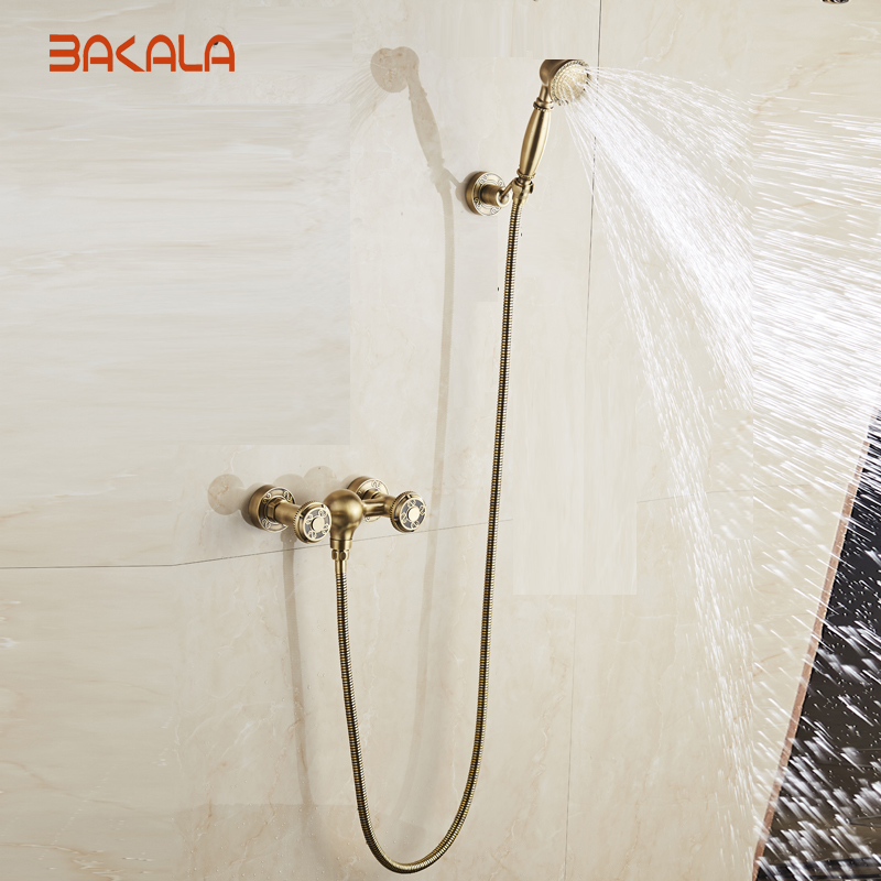 Antique Brushed Brass Bath Faucets Wall Mounted Bathroom Basin Mixer Tap Crane With Hand Shower Head Bath & Shower Faucet 10852