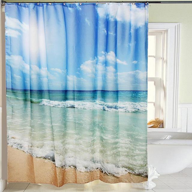 Waterproof Polyester Sea Beach Shower Curtain Bath Screen Cover Sheer Fabric Home Bathroom Decor Textiles