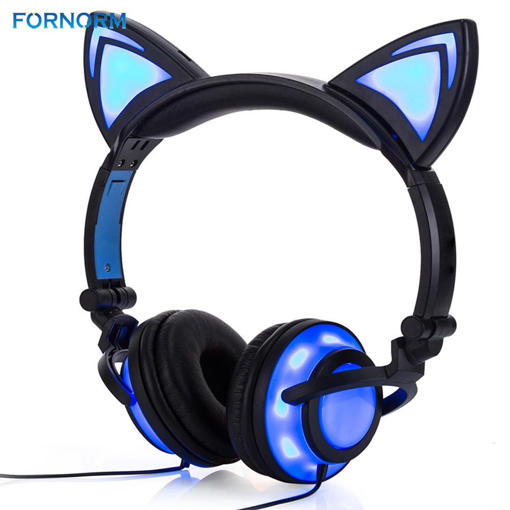 FORNORM 2018 Girls Headphones and Earphone Cat Ear Shape Head-mounted LED Glow Plastic Adjustable Body Cotton Cap Cute Headset гладильная доска dogrular элона