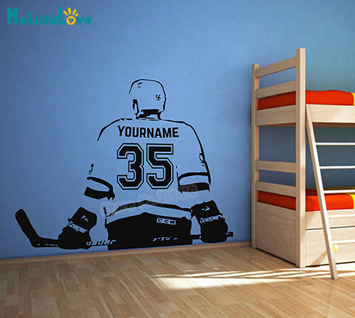 Hockey player Wall Art Murals sticker Custom Name Number Personalized Home Decor Decals For Kids Room Vinilos Paredes YY818