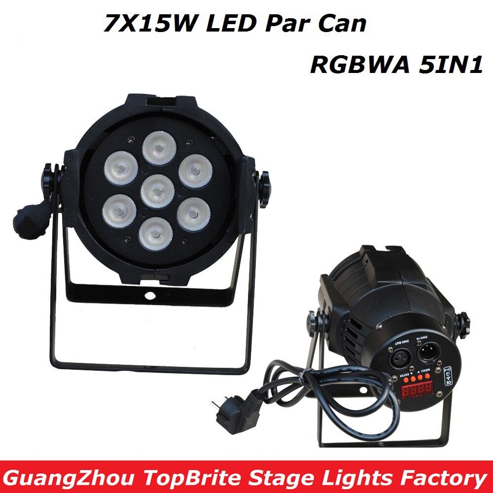 1XLot New Led Par Light 7X15W RGBWA 5IN1 110W DJ Disco DMX Stage Lights Led Par Can Effects Club Party Wedding Events Lighting