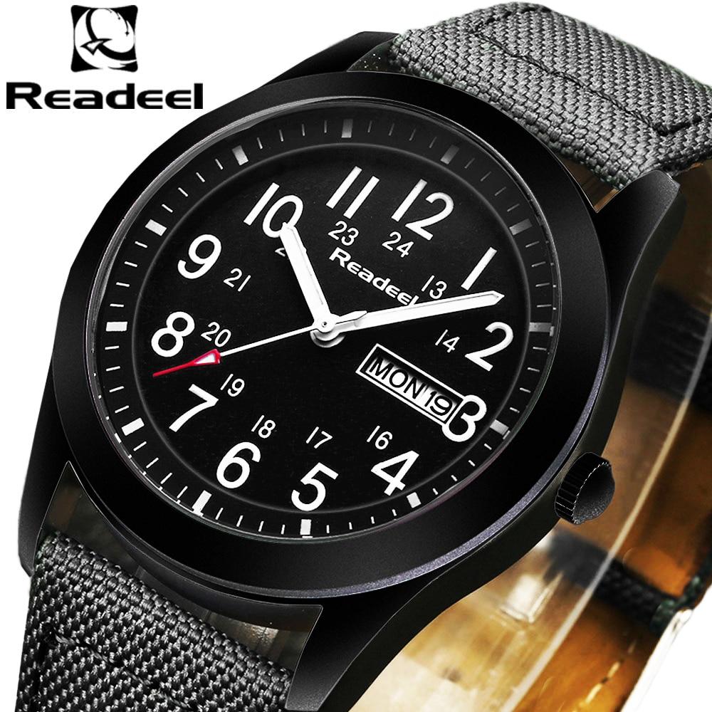 Readeel Top Luxury Brand Quartz Mens Wrist Watches Date Week Sport Military Casual Men Watch Canvas Male Clock Hot Sale