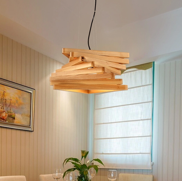 Modern Engraved Wooden Pendant Lights Fixture Nordic Wood Light Tunnel Droplight Home Indoor Restaurant Bedroom Dining Room Lamp