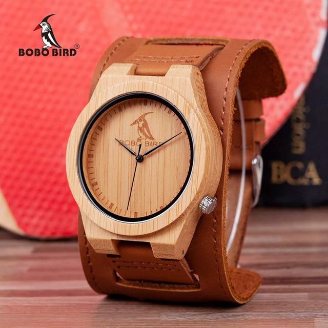 Reloj masculino BOBO BIRD Bamboo para hombre, reloj de madera, relojes de cuarzo, logotipo personalizado, se acepta Envío Directo