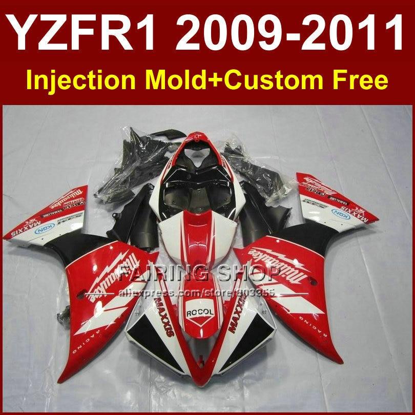 Красный мотоцикл частей DIY тела для YAMAHA fairingsYZF на R1 09 10 11 12 R1 черный YZF1000 кузова Р1 +7gifts запросу YZF Р1 2009 2010 2011