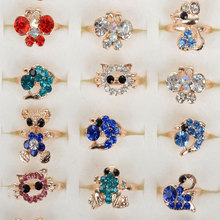 Mix Lot Wholesale 30pcs Children Crystal Rings Mixed Styles Colorful Cartoon Gold Plated Party Girls Boys Gift