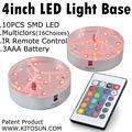 1 Piece /lot  4inch Circle Centerpiece Base RGB Color Changing LED Bottle Light for Flower Vase Decoration
