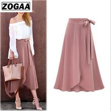 купить ZOGAA Women Chiffon Skirt Vintage High Waist Skirts Plus Size Retro Saia Midi Rokken 2019 Summer Jupe Femme 6XL 5XL Faldas по цене 702.11 рублей