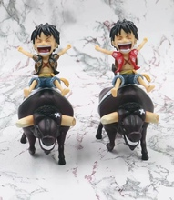 Anime One Piece ride a cow Monkey D Luffy on an Ox Bull Riding Action Figure Collection Model Toys