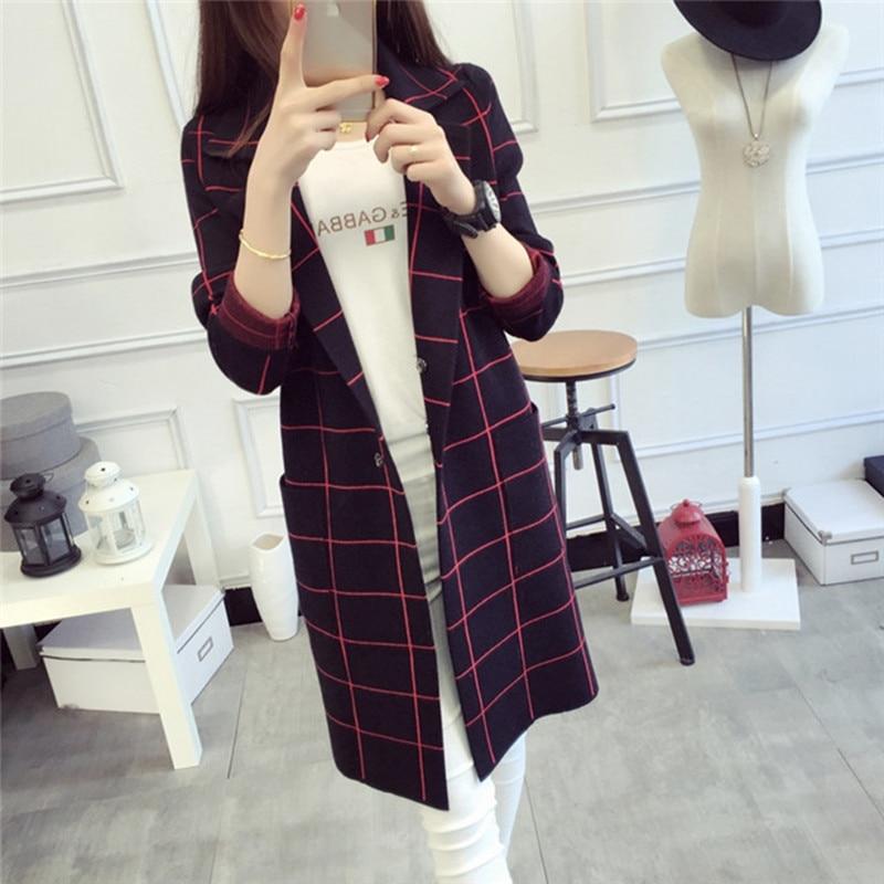 2017 Sonbahar Kış Kadın Gevşek Örgü Hırka Ceket Lady Uzun - Bayan Giyimi - Fotoğraf 1