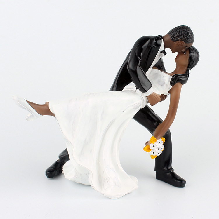 Free Shipping Wedding Resin Cake Topper African American Dancing Couple Doll Bride Groom Flower In Decorating Supplies From Home Garden
