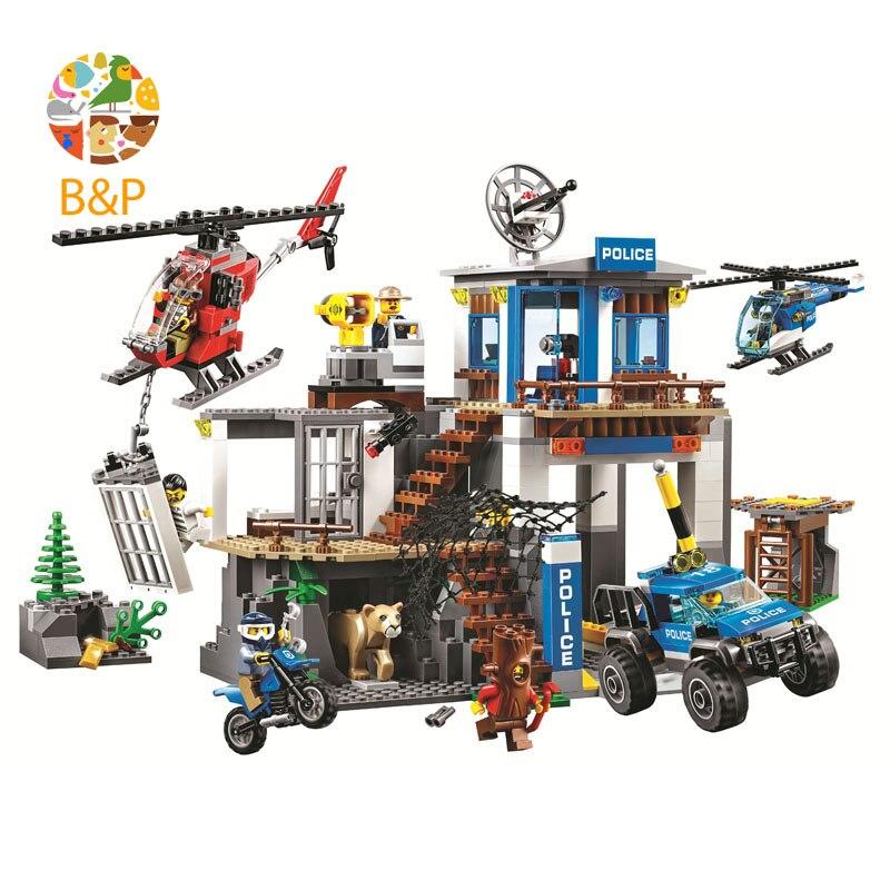 Nuevo Legoing unids 705 60174 unidades ciudad serie montaña policía sede edificio bloque educativo DIY juguete para niños regalo 10865