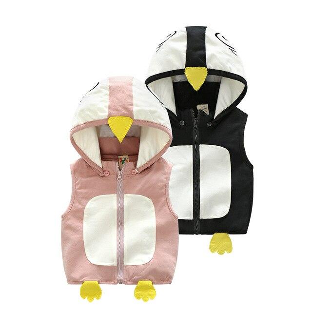 855b7b654 Otoño primavera niños chaleco cálido chico chica encantadora de dibujos  animados 3D pato Animal con capucha sin mangas bebé moda ropa deporte