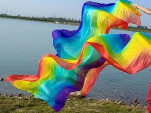 Image 4 - Professionelle 100% Echt Seide Bauchtanz Fan Schleier Falten Lange Fan Regenbogen Farbe Mädchen Erwachsene Größe 1.2/1.5/1.8/2,1 m Kostenloser Versand
