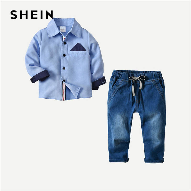 SHEIN Kiddie Blue Toddler Boys Button Contrast Panel Shirt With Drawstring Jeans 2019 Spring Long Sleeve School Kids Clothing tartan plaid contrast sleeve coat
