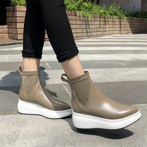 Image 4 - FEDONAS yeni Retro kadınlar hakiki deri yarım çizmeler platformları konfor rahat çorap çizmeler kadın 2021 ayakkabı kadın ofis pompaları