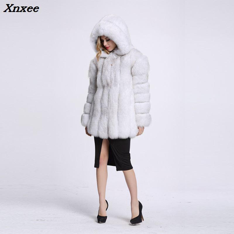 Xnxee elegancki długi Faux Fur Coat puszyste kurtka 2018 zimowa kobiety grube ciepłe Faux futro płaszcze z kapturem biały czarny plus rozmiar w Sztuczne futro od Odzież damska na  Grupa 3