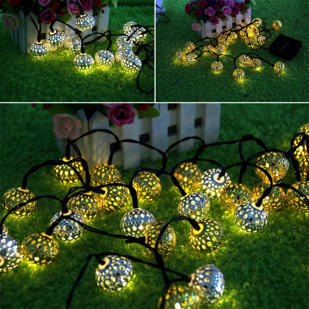 Hot Sale 20pcs Solar Hollow Ball Fairy LED String Light Christmas Wedding Party Garlands Lighting Patio Garden Yard Home Decor