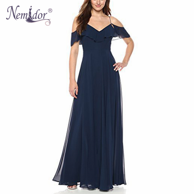 Nemidor <font><b>2018</b></font> Women <font><b>Sexy</b></font> V-neck Spaghetti Strap <font><b>Chiffon</b></font> Maxi <font><b>Dress</b></font> Vintage Ruffles Short Sleeve Backless Midi Party A-line <font><b>Dress</b></font> image