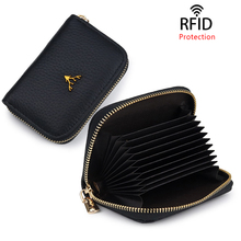 Mini Wallets Genuine Leather Wallet Women Business card holder Purses RFID card Blocking Holders small Cowhide coin Purse Bags fashion genuine leather rfid protection men wallets business small zipper coin purses mini card holders with rfid blocking