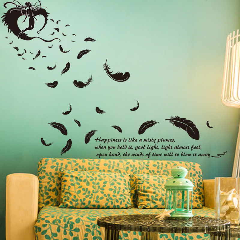 foreign trade new modern wall sticking feathers can remove