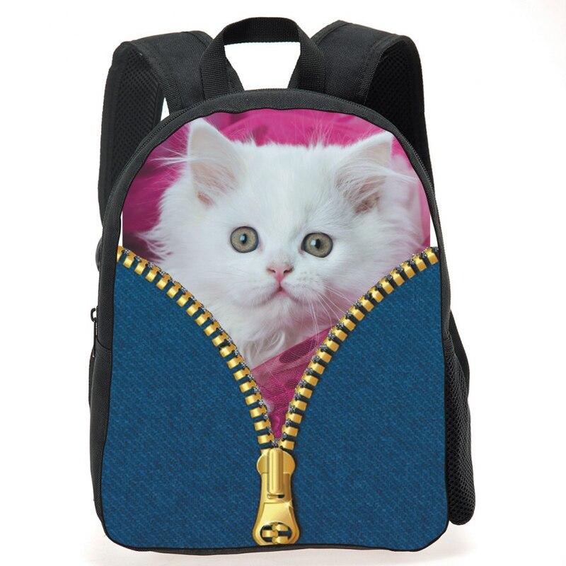 Cute Kids School Bags Lovely 3D Animal Cat Print Schoolbag for Children Casual Little Boy Girls Denim Bookbag Mochila Escolar
