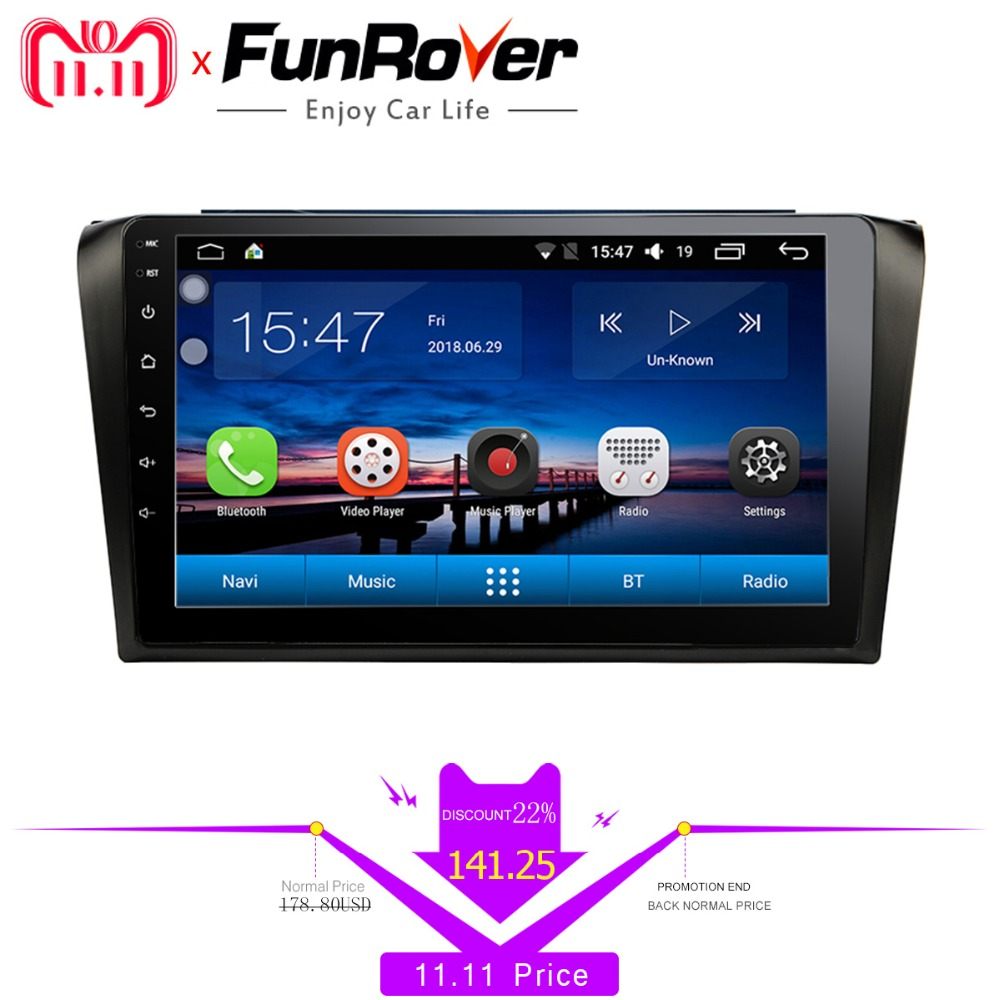 Funrover 9android 8.0 car multimedia dvd radio For Mazda 3 Mazda3 2004-2009 tape recorder car dvd gps Navigation stereo Player гардемарины 3 dvd
