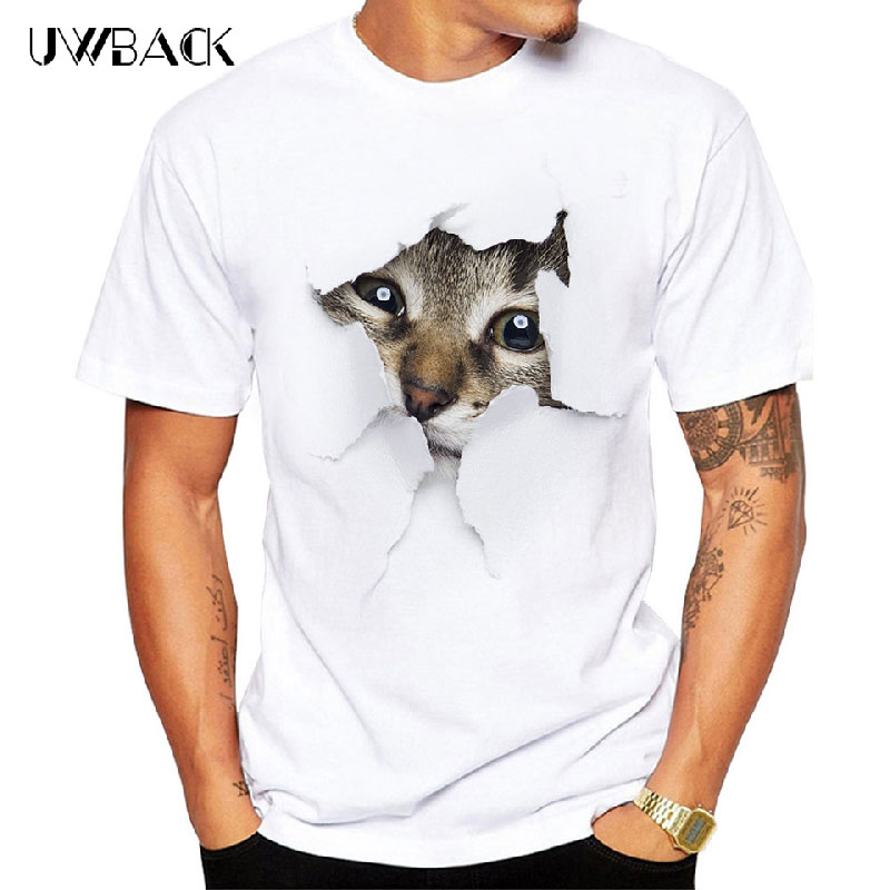 Uwback 2018 Nouvelle Marque Hommes Femmes Casual T Shirt Mignon Chat Imprimé Couple T Chemises O-cou Plus La Taille 3XL Blanc 3D Top T-shirts XA568