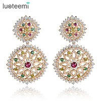 LUOTEEMI Double Round Cubic Zircon Inlay Multi Color CZ Stone Big Stud Wedding Earrings For Fashion Women Party Jewelry