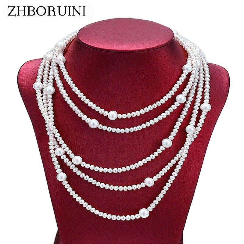 ZHBORUINI 2019 mode Long collier de perles d'eau douce naturelle perle 925 bijoux en argent sterling pour les femmes collier cadeau