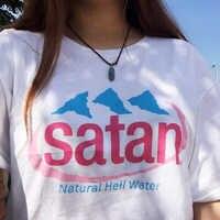 Hillbilly frauen T-shirt Mode 2018 Brief Druck Satan Natürliche Hölle Wasser Umwelt Kurzarm Süße Baumwolle T Shirt Frauen