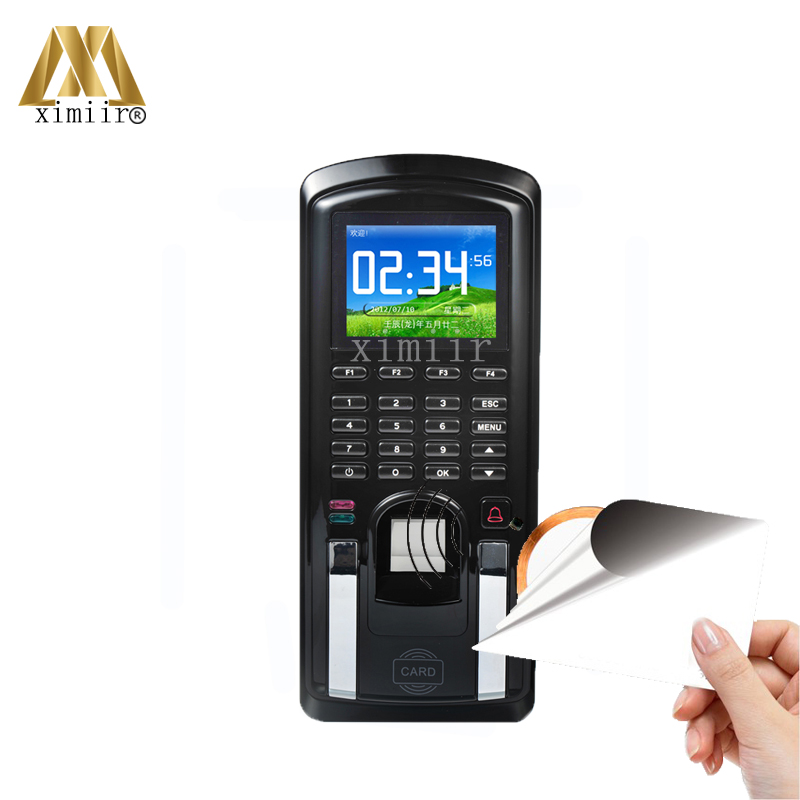 Fingerprint Access Control With Software TCP/IP Color Screen Fingerprint Time Attendance With 13.56MHZ MF IC Card Reader MF151 3 inch color screen m200 ic 13 56mhz smart card time attendance time recorder time clock with tcp ip