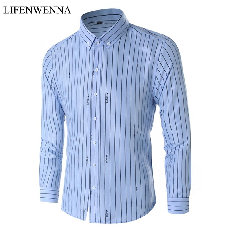 2019 Sonbahar erkek Gömlek Moda Benzersiz Tasarım Gömlek Çizgili Mektup Uzun Kollu Gömlek Erkekler Slim Fit Casual Ofis Gömlek Erkekler M-5XL