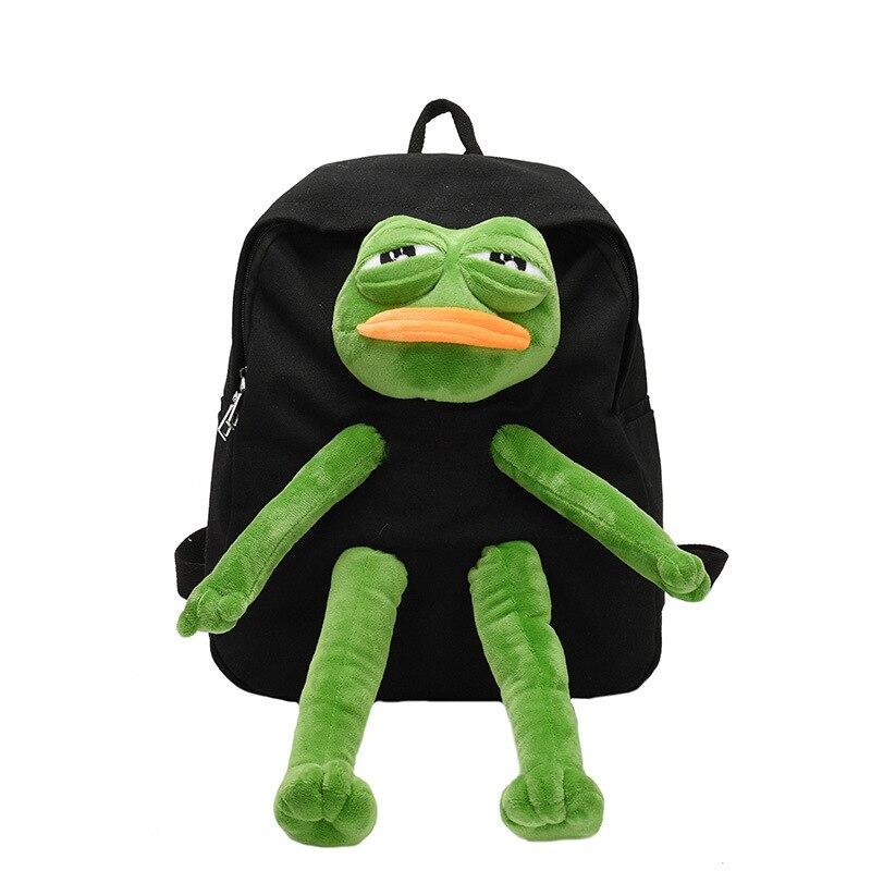 Frog Stereo Doll Backpack Cartoon Girls Canvas Backpack School Bag Kawaii Women's Shoulder Bag Large-capacity Travel Bag Women