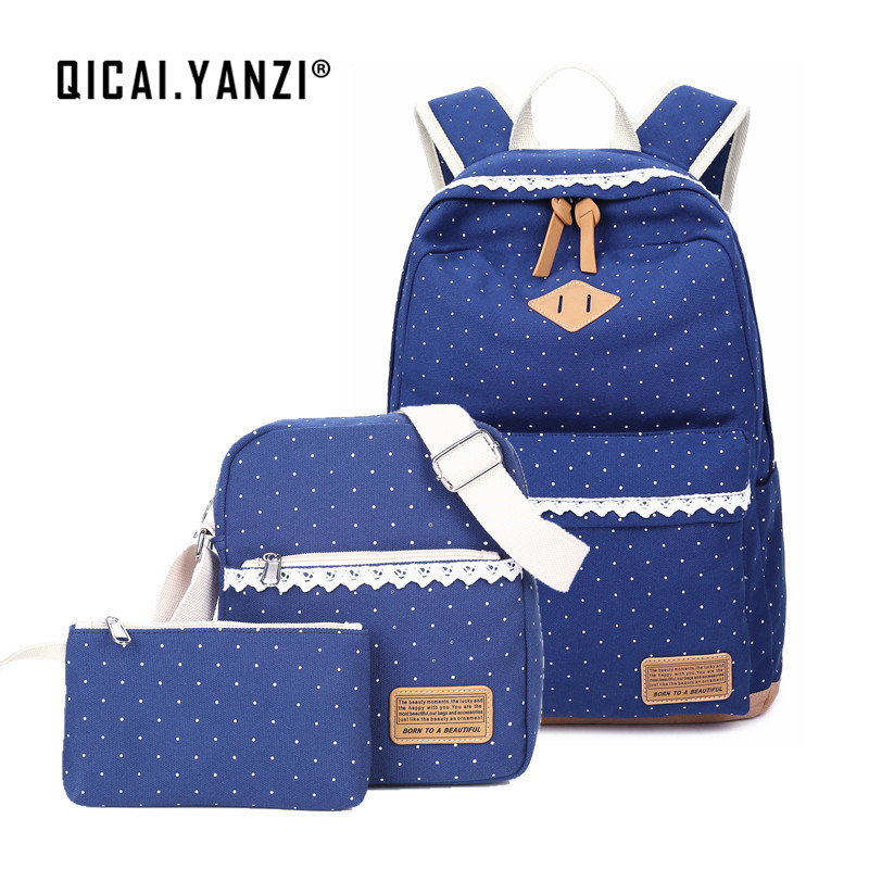 QICAI YANZI Student Girls High Capacity Schoolbags 3pcs lot Women Canvas Dot Lace Backpacks Mochila Escolar
