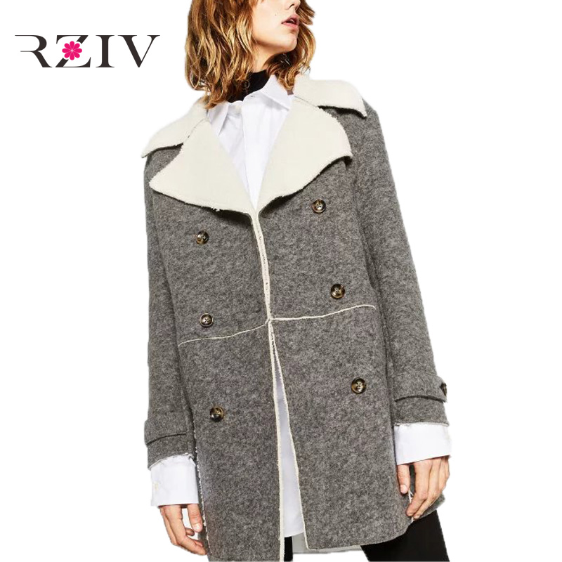 RZIV 2016 autumn and winter women s leisure solid color wool lapel coat