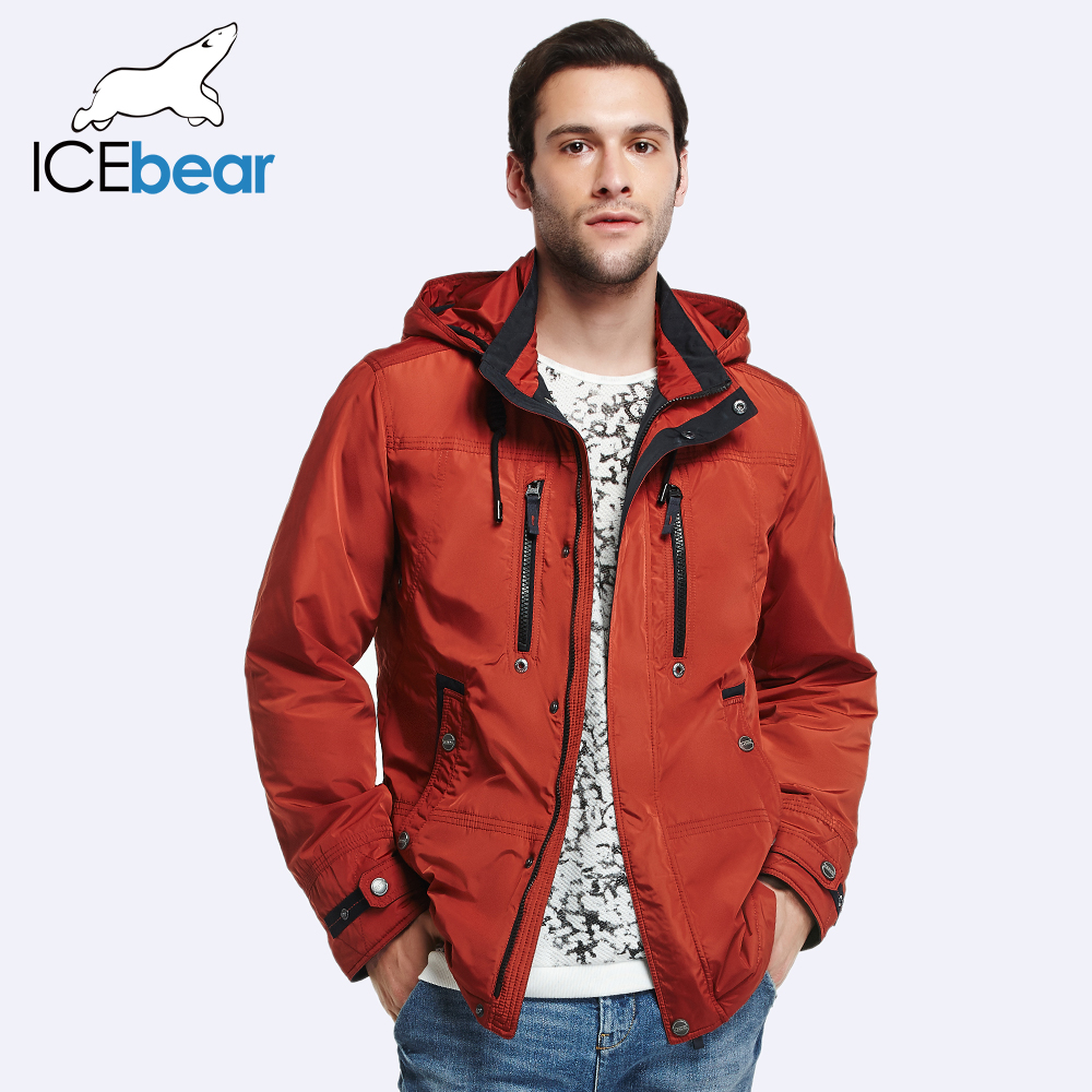 ICEbear 2017 Removable Hat Zipper Design Fashion  Autumn Spring Designer Trench Coat Men Jacket Comfortable Parka 17MC302